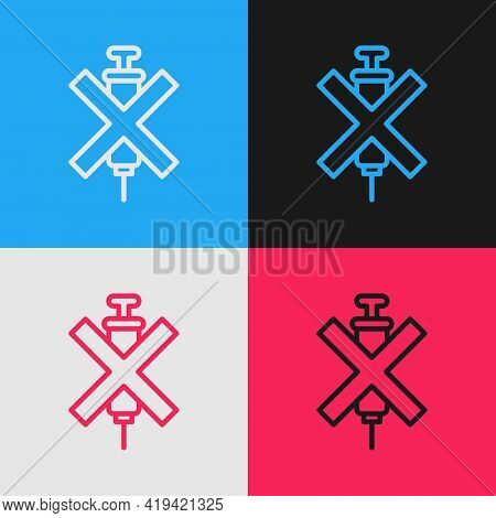 Pop Art Line No Doping Syringe Icon Isolated On Color Background. Vector