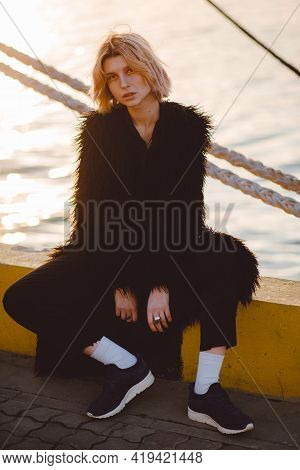 Fashion Shot Of Young Hipster Woman. Urban Street Style