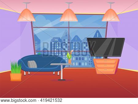 Colorful Living Room With Sofa And City View Window. Cartoon Vector Illustration. Modern Cozy Lounge