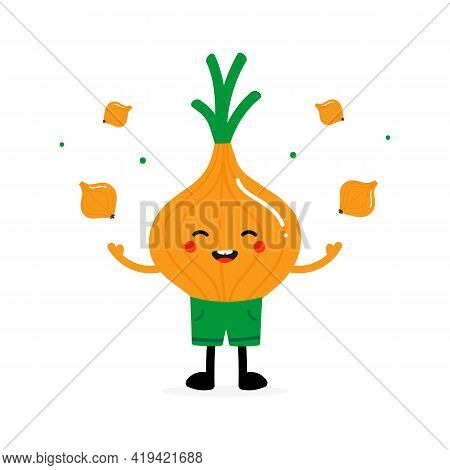 Cute Smiling Cartoon Style Onion In Shorts Character Juggling, Throwing Up In Air Onion Vegetables.