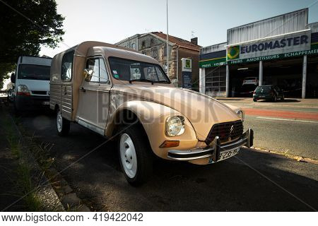 BAYONNE, FRANCE - CIRCA AUGUST 2020: A Citroen Acadiane parked in the street. It is a vintage small commercial vehicle.