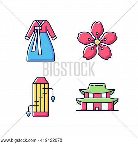Korean Ethnic Symbols Rgb Color Icons Set. Hanbok Clothes. Cherry Blossom. Gayageum Musical Instrume
