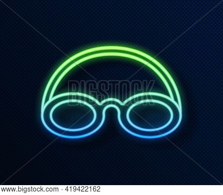 Glowing Neon Line Glasses And Cap For Swimming Icon Isolated On Blue Background. Swimming Cap And Go