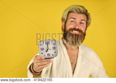 Guy In Bathrobe. Natural Daily Rhythms Are Synchronized With Sun. Time Zone. Wake Up In Morning. Tim