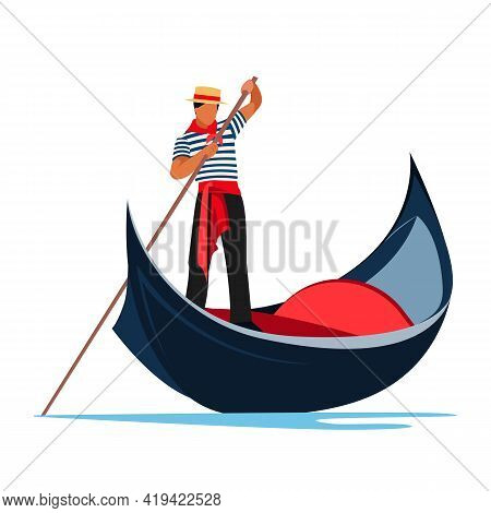 Venice Gondola. Italy Old Boat With Gondolier. Europe Traveling Concept. Vector