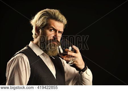 Good Indication Of Condition Of Whisky. Bearded Businessman In Elegant Suit With Glass Of Whisky. So