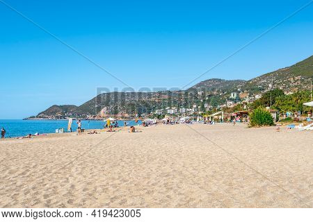 Alanya, Turkey - October 23, 2020: Beautiful Landscape Of Kleopatra Beach In Alanya With Clean White