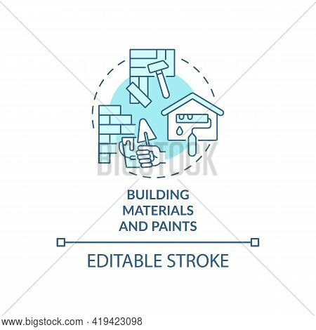 Building Materials And Paints Concept Icon. Indoor Air Pollution Idea Thin Line Illustration. Decora