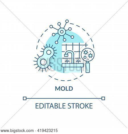Mold Concept Icon. Indoor Air Pollution Idea Thin Line Illustration. Food Source, Moisture, Warm Tem