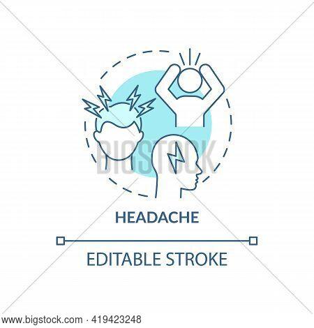 Headache Concept Icon. Air Pollution Disease Symptom Idea Thin Line Illustration. Throbbing, Constan