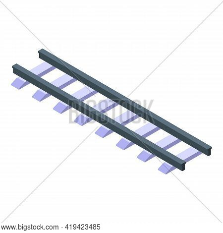 Railway Icon. Isometric Of Railway Vector Icon For Web Design Isolated On White Background