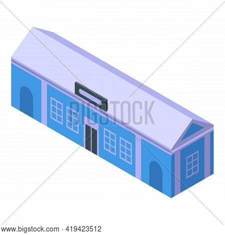 Railway Stop Icon. Isometric Of Railway Stop Vector Icon For Web Design Isolated On White Background