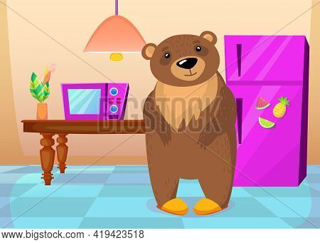 Cute Wild Grizzly Bear Standing At Home In Slippers. Cartoon Vector Illustration. Brown Bear Standin