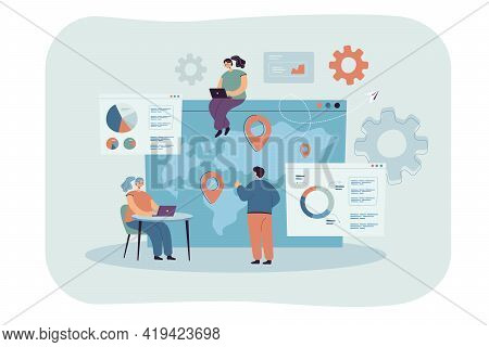 Tiny People With Laptops Doing Global Business Research Flat Vector Illustration. Cartoon Characters