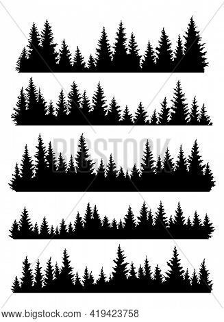Set of fir trees silhouettes. Coniferous spruce horizontal background patterns, black evergreen woods  illustration. Beautiful hand drawn panoramas of a coniferous forest