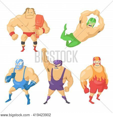 Cartoon Set Of Mexican Wrestler Fighters In Masks. Vector Illustration. Angry, Gloomy Wrestlers In C