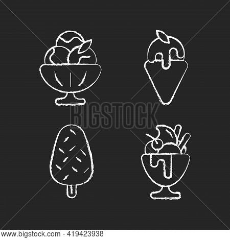 Ice Cream Varieties Chalk White Icons Set On Black Background. Sorbet, Sherbet. Gelato. Vanilla Ice