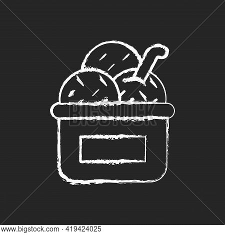 Ice Cream In Cup Chalk White Icon On Black Background. Serving Frozen Treat. Smooth Consistency. Cre