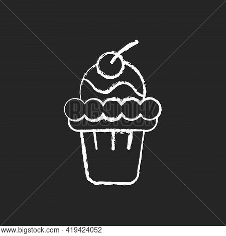 Soft Serve Chalk White Icon On Black Background. Soft Ice In Waffle Bowl. Sweet Creamy Dessert With