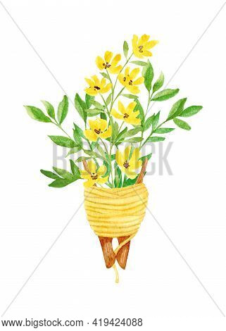 Composition With Watercolor Wild, Yellow Flowers And Branches With Leaves In A Wooden Clip With Thre