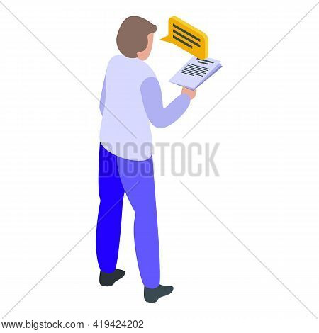 Worker Assistant Icon. Isometric Of Worker Assistant Vector Icon For Web Design Isolated On White Ba