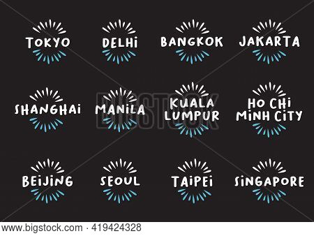 Set Of Asian Cities Design Template Icon Titles. Vector Illustration.