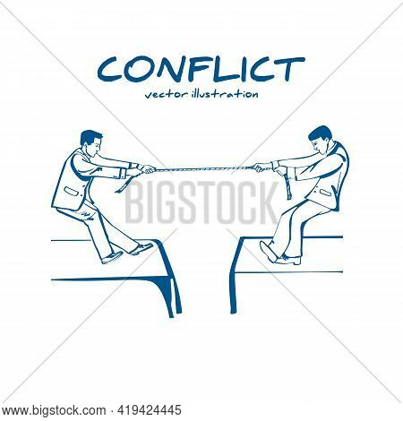 Competition Concept. Business People. Businessmen In Suit Pull The Rope At Edge Of Cliff, Symbol Of