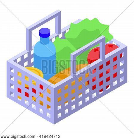 Grocery Basket Icon. Isometric Of Grocery Basket Vector Icon For Web Design Isolated On White Backgr
