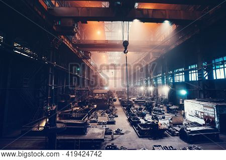 Metallurgical Plant Or Steel Foundry Factory, Large Workshop Interior, Blast Furnace, Heavy Industry