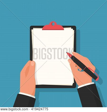 Businessman Holds A Clipboard With White Blank Sheets In Hands. Pen In Hand. Form For Text Profile O