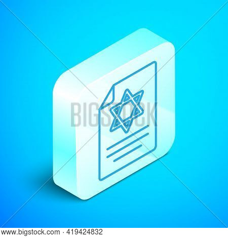 Isometric Line Torah Scroll Icon Isolated On Blue Background. Jewish Torah In Expanded Form. Star Of