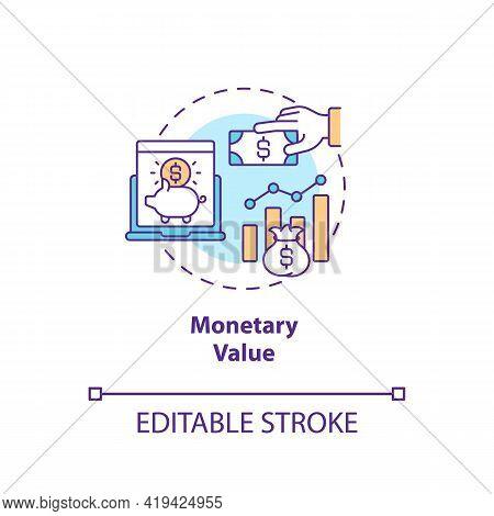 Monetary Value Concept Icon. Rfm Model Analysis Idea Thin Line Illustration. Amount Money Spent Over