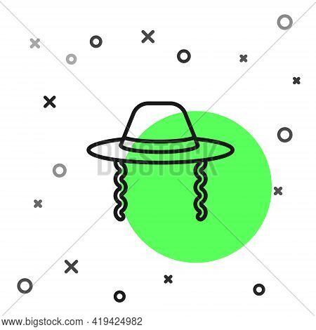 Black Line Orthodox Jewish Hat With Sidelocks Icon Isolated On White Background. Jewish Men In The T