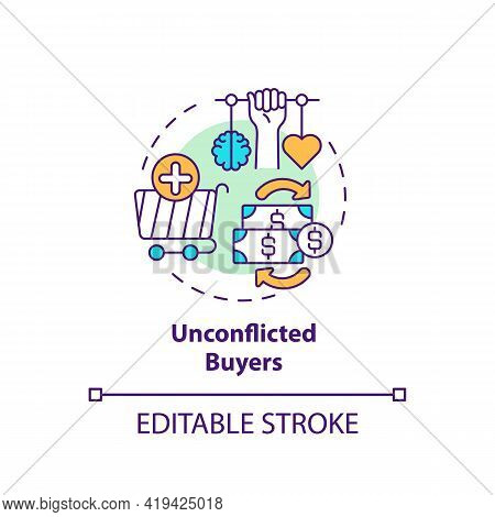 Unconflicted Buyers Concept Icon. Buyer Type Idea Thin Line Illustration. Average Consumer. Consider