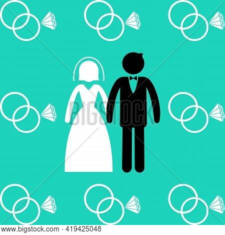 Married Or Wedding Rings Icon. Man In Suit And Woman In Wedding Dress Standing And Holding Hands. Ma