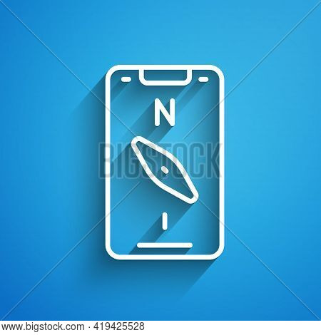 White Line Compass Screen Apps On Smartphone For Navigation Icon Isolated On Blue Background. Applic