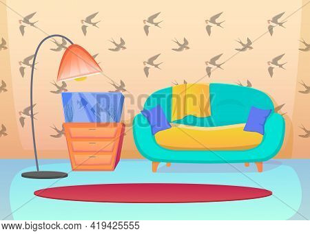 Colorful Living Room Interior With Swallows Wallpaper. Cartoon Vector Illustration. Turquoise Sofa,