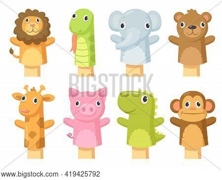 Set Of Cute Hand Sock Puppets. Cartoon Vector Illustration. Hand Sock Toys In Form Of Giraffe, Lion,