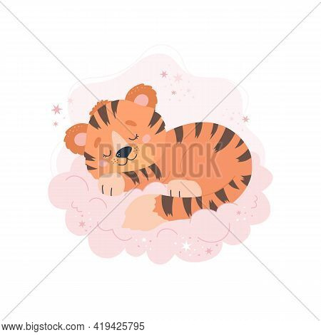 Cute Tiger Sleeping On Cloud. Baby Animal Concept Illustration For Nursery, Character For Children
