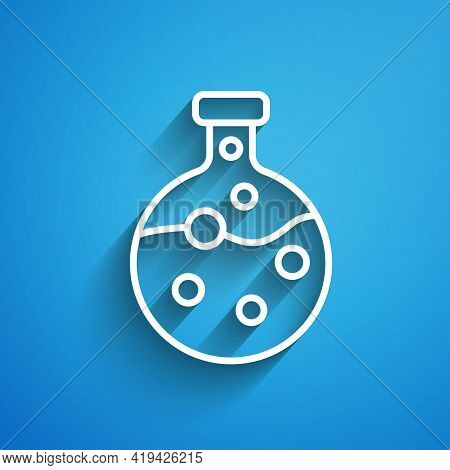 White Line Test Tube And Flask Chemical Laboratory Test Icon Isolated On Blue Background. Laboratory