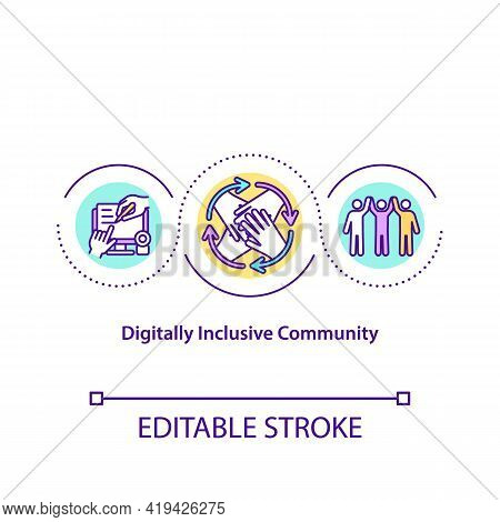 Digitally Inclusive Community Concept Icon. Connection With Others Idea Thin Line Illustration. Civi