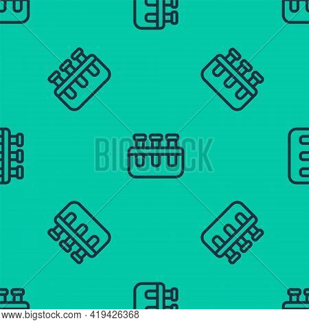 Blue Line Test Tube And Flask Chemical Laboratory Test Icon Isolated Seamless Pattern On Green Backg