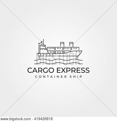 Cargo Ship Container Logo Vector Line Art Illustration Design, Cargo Express Minimalist On The Sea V