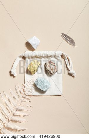 Dry Fern And Crystal Minerals On Beige Background. Magic Rock For Crystal Ritual, Witchcraft, Spirit