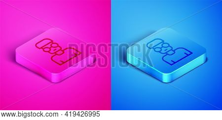Isometric Line Nerd Geek Icon Isolated On Pink And Blue Background. Square Button. Vector