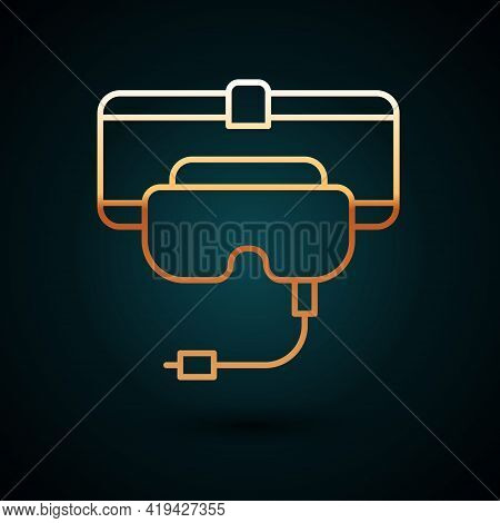 Gold Line Virtual Reality Glasses Icon Isolated On Dark Blue Background. Stereoscopic 3d Vr Mask. Ve