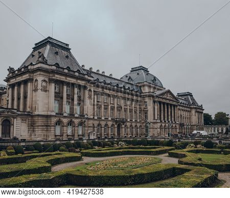 Brussels, Belgium - August 16, 2019: Panoramic View Of The Royal Palace Of Brussels, The Official Pa