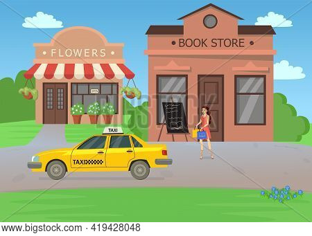 Woman Waiting For Taxi After Shopping In Bookstore Illustration. Young Female Cartoon Character In D