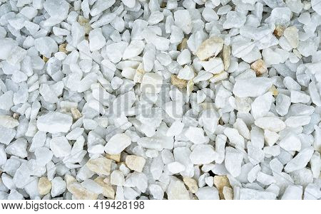 White Pebbles Stone Texture And Background. Nature Pebble Stone Background, Smooth Stone Beach Or De