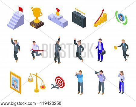 Successful Career Icons Set. Isometric Set Of Successful Career Vector Icons For Web Design Isolated